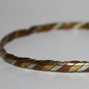 Vintage silver copper gold bangle bracelet